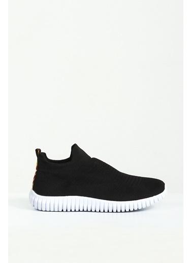 Collezione Siyah Düz Tabanlı Bağcıksız Kadın Sneaker Siyah